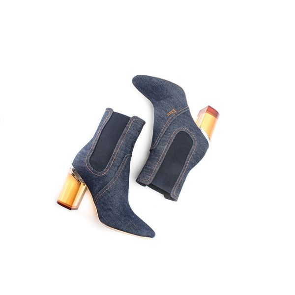 Spring Denim Dior Boots ❤ liked on Polyvore featuring shoes, boots, denim shoes and denim boots