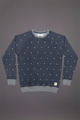 WEMOTO SPACE SWEATSHIRT INDIGO MELANGE  WEMOTO A/W 14. 100% cotton sweatshirt with screen printed design.  http://www.abandonshipapparel.com/product/wemoto-space-sweatshirt-indigo-melange/