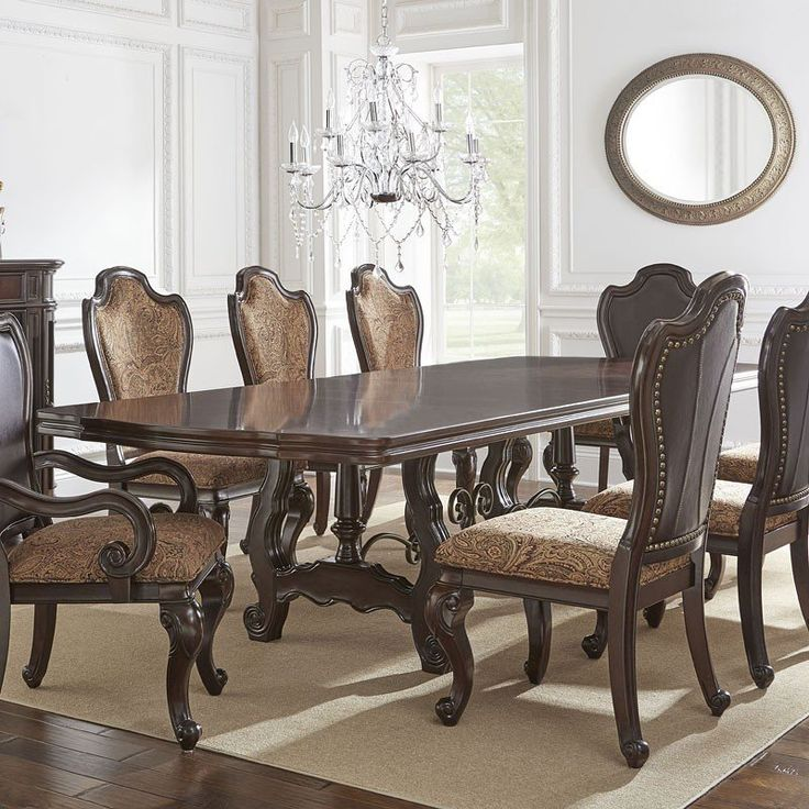 Angelina Double Pedestal Dining Table Steve Silver Furniture   Furniture Cart