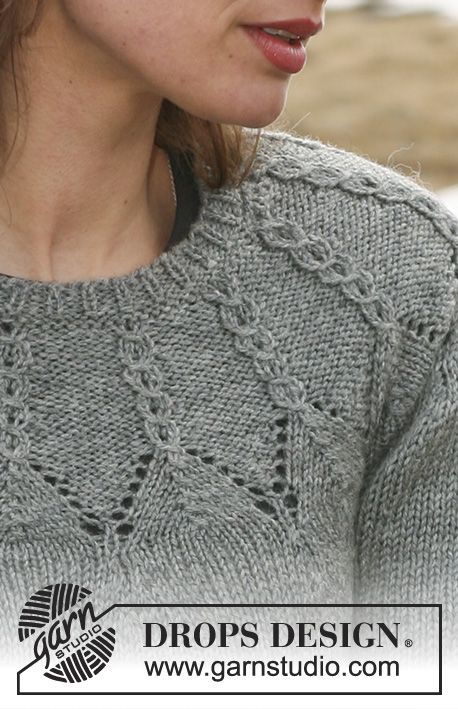 DROPS jumper with cables and round yoke sleeves in Karisma. Size S - XXXL