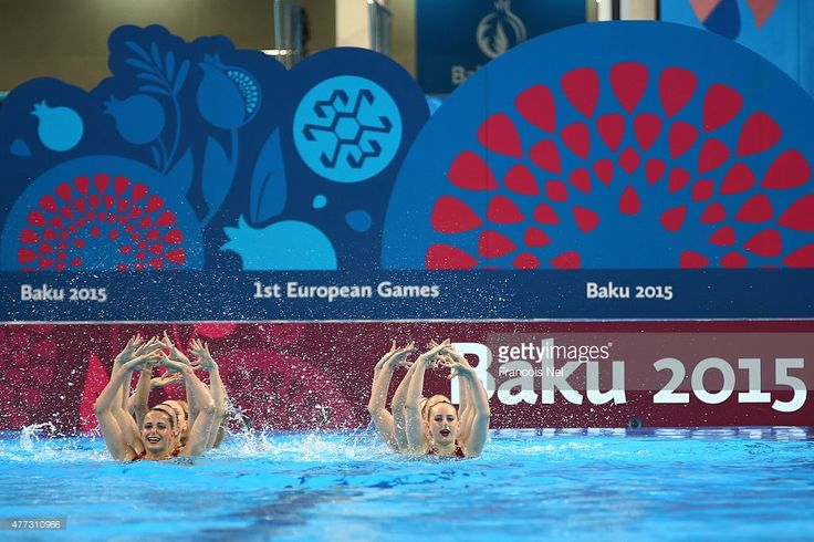 The Great Britain team competes in the Synchronised Swimming Teams Free Routine final during day four of the Baku 2015 European Games at Beach Arena on June 16, 2015 in Baku, Azerbaijan.