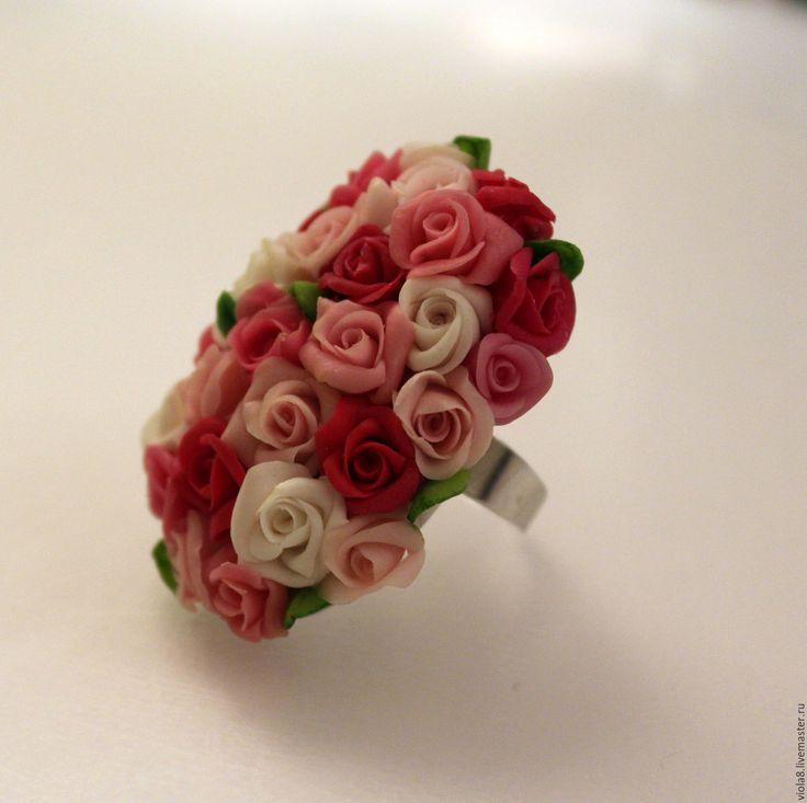 Купить Кольцо Миллион алых роз. Полимерная глина.Розы ручной работы..
