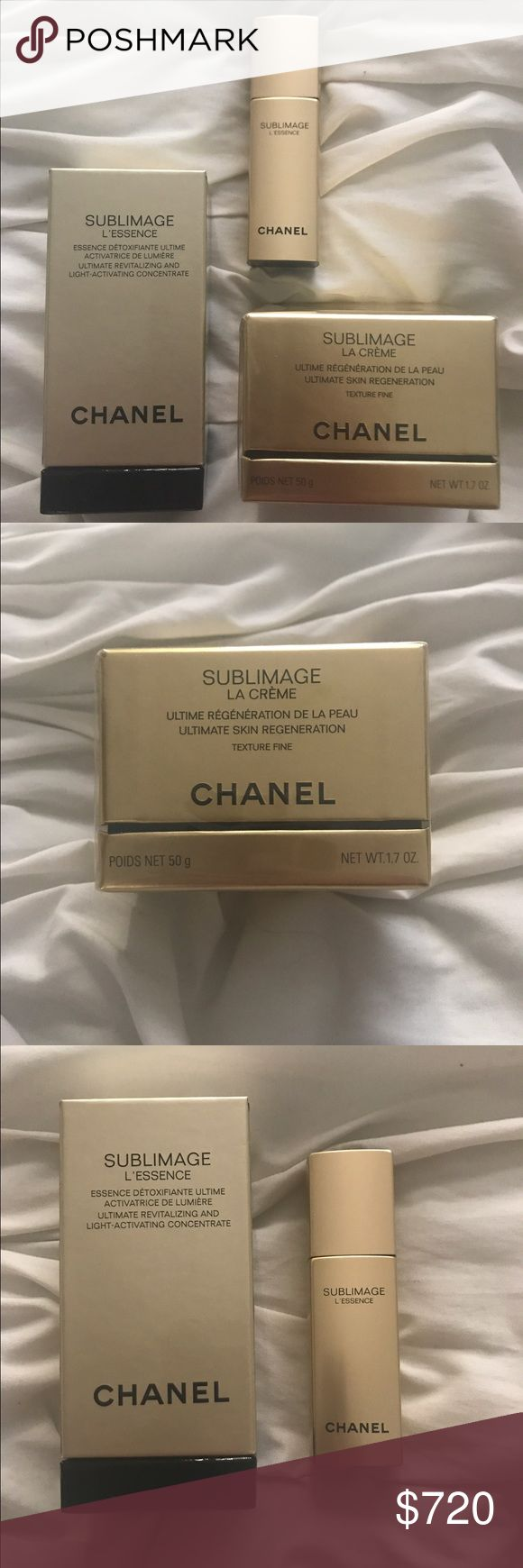 Chanel Sublimage La Creme and Sublimage L'essence Selling never used and never opened both Chanel Sublimage La Creme (moisturizer) and Sublimage L'essence (concentrate) together. These products should be used together (first the L'essence then the la Creme). CHANEL Makeup