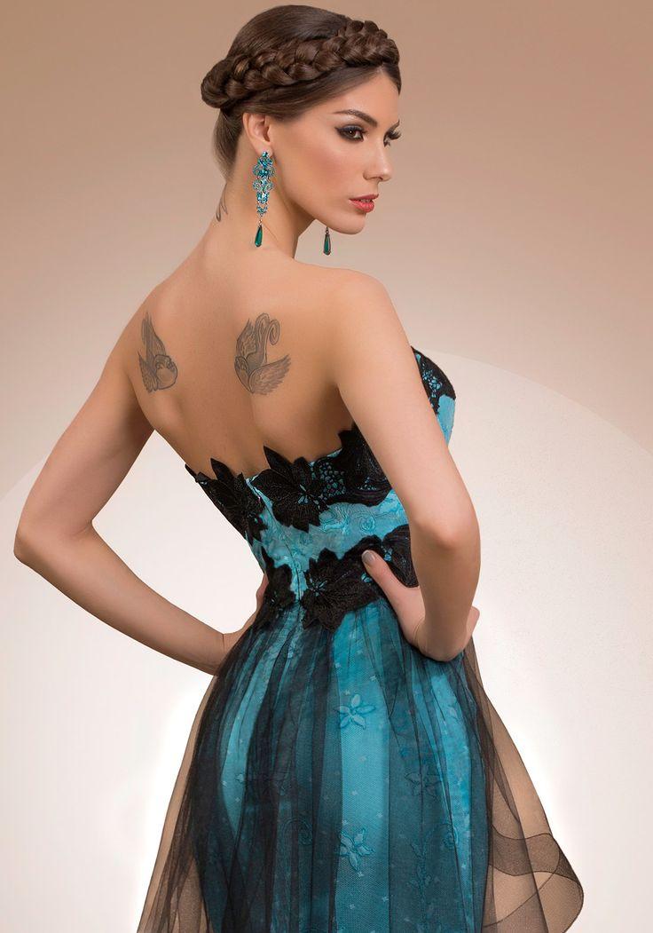 My Secret Fantasy, black and blue statement luxury cocktail dress, 2016 My Secret by Bien Savvy
