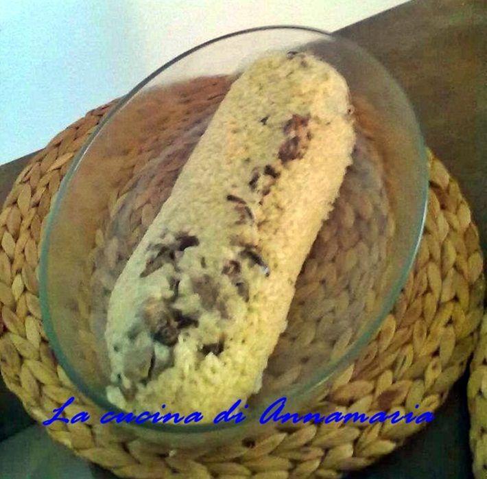 Rotolo di riso ai funghi con fonduta al parmigiano
