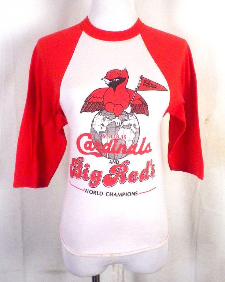 vtg 80s soft thin 1982 St Louis Cardinals Raglan T-Shirt World Champions MLB S