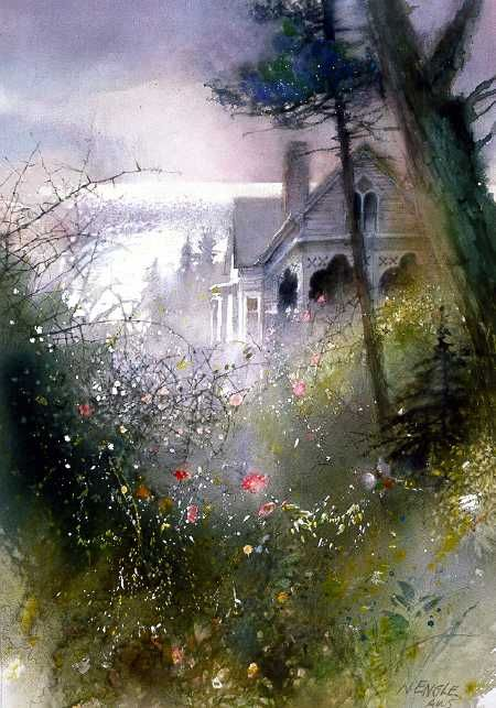 House by the Sea by watercolor artist Nita Engle avaible from Snow Goose Gallery