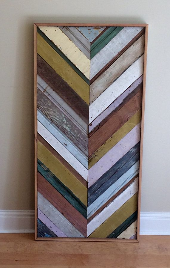Reclaimed multicolored wood quilt, herringbone pattern - wood wall art