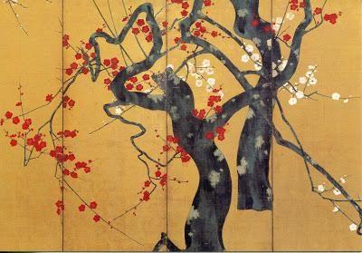 Paravent de Sakai: fleurs de prunier blanches et rouges.  Mehr lesen auf http://www.paperblog.fr/5967730/l-ecole-rinpa/#rj1WyICj5wu7sviz.99