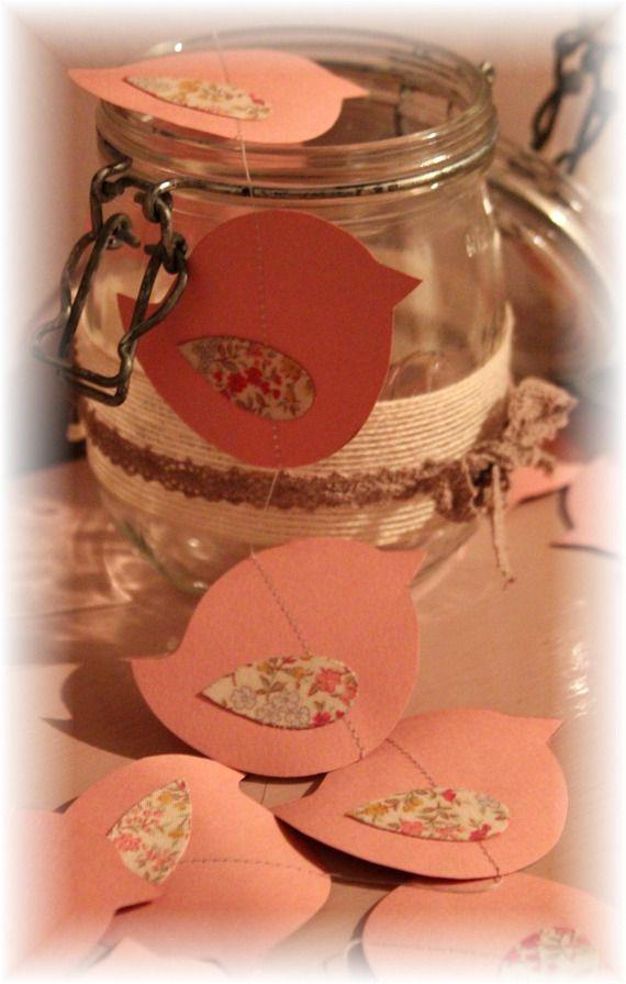 Guirlande Oiseaux rose/liberty, décoration chambre fille/bébé