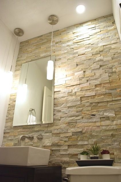 1000 ideas about bathroom feature wall on pinterest for Stone bathroom wallpaper