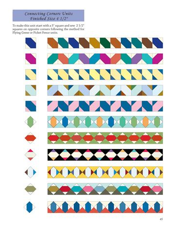 """Diagram from Pat Speth's book Nickel Quilts and Borders. The Inklingo Spool [Japanese X] Collection makes a 3 1/2"""" block that will work in these border designs."""