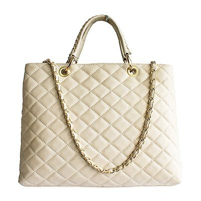 Designer Style Quilted Italian Cream Leather Handbag (Medium Size) - £89.99
