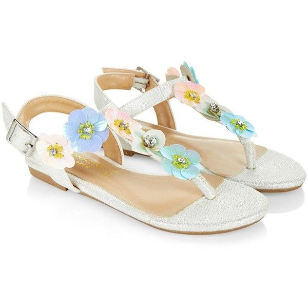 Monsoon Pastel Sequin Flower Sandal ($27) ❤ liked on Polyvore featuring shoes, sandals, flower shoes, sequin shoes, blossom footwear, flower sandals and blossom shoes