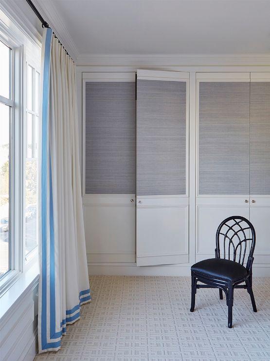 Closet Doors with Grasscloth Wallpaper, Transitional, Bedroom