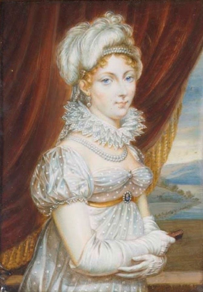 Duchess of Angoulême (1778-1851), standing in sprigged white dress with ruff, pearl necklace and pearls in her fair hair, wearing gloves and holding a small book by ? (auctioned by Christie's) From teaattrianon.blogspot.com X 1.5