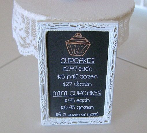 CUPCAKE CHALKBOARD Bakery MENU Sign Shop Bakery Cafe - Dollhouse Miniature 1/12 th Scale. $25.00, via Etsy.
