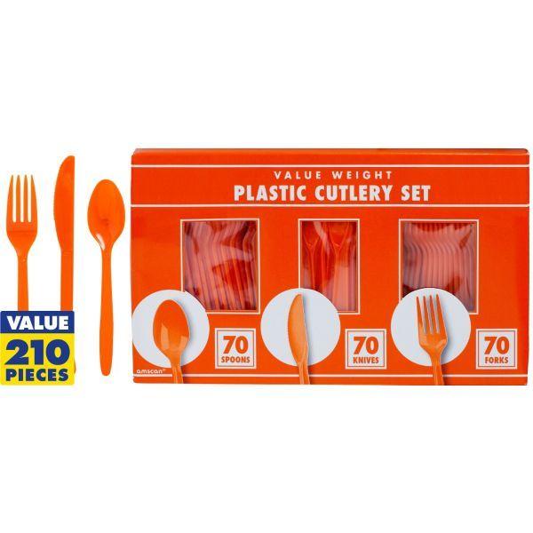 Orange Plastic Cutlery Set 210ct $9.99