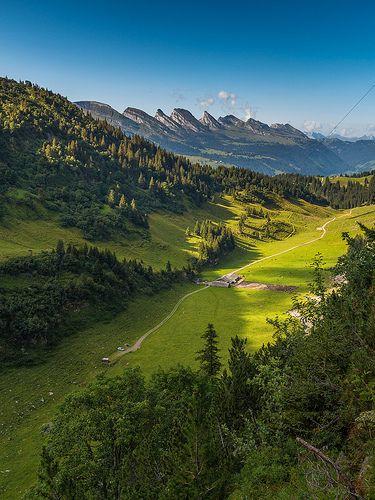 Alp Tesel mit Churfirsten. Toggenburg. Kanton Sankt Gallen. Schweiz.
