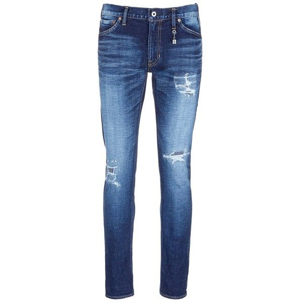 Fdmtl 'Figure CS30' sashiko stitch ripped skinny jeans (12,710 DOP) ❤ liked on Polyvore featuring men's fashion, men's clothing, men's jeans, blue, mens waxed denim skinny jeans, mens distressed denim jeans, mens faded jeans, mens ripped denim jeans and mens blue jeans