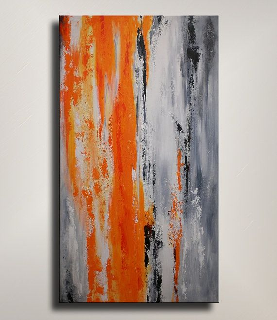 Original Textured Abstract Painting On Canvas By Emerico Imre Toth. Orange,  Gray Home Decor, Wall Decor. Part 90