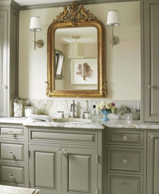 The only thing I would change is the sconces...Mirrors, Cabinets Colors, Cabinet Colors, Grey Cabinets, Gray Cabinets, Painting Colors, Benjamin Moore, Bathroom Cabinets, Master Bathroom