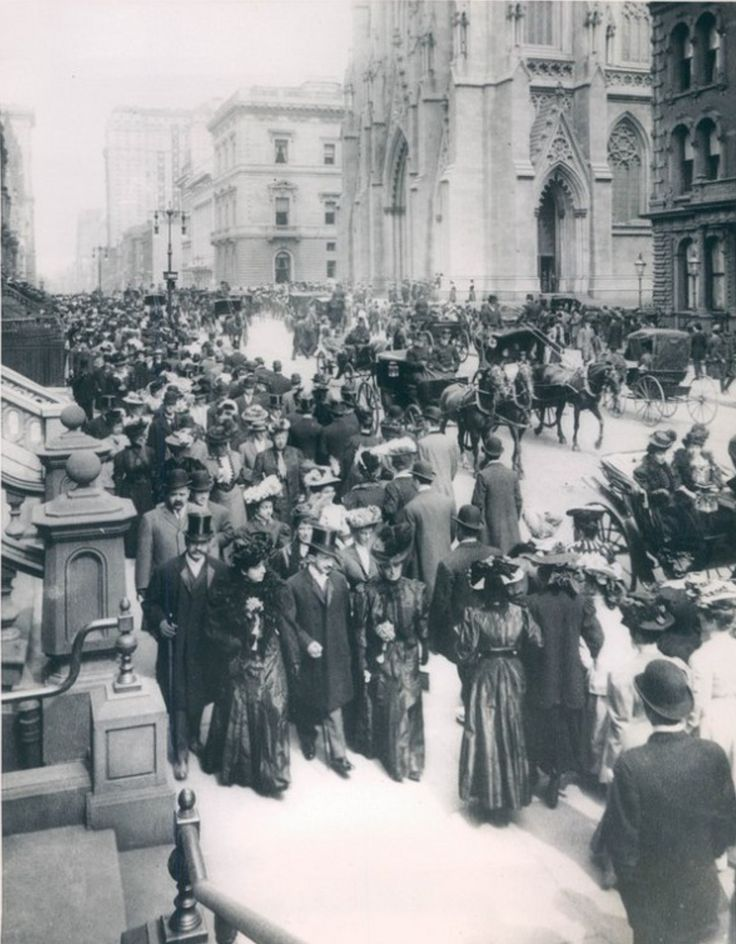 """Life in The Gilded Age -1900 - The """"Easter Parade"""" on 5th Avenue, New York City - The Easter Parade was an American cultural event consisting of a festive strolling procession on Easter Sunday. The extraordinarily wealthy paraded  fashionable clothing and strove to impress each other with their finery."""