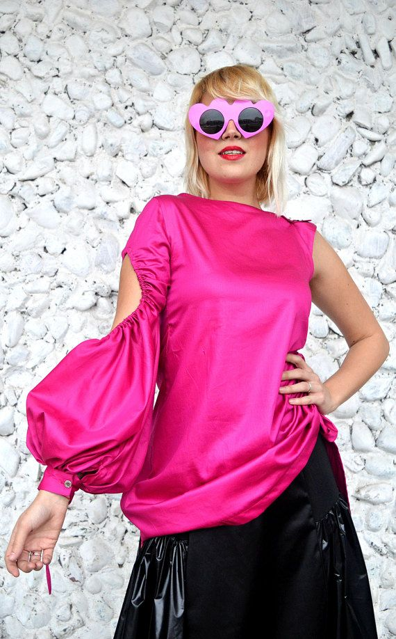 One Sleeve Top Hot Pink Top Top with One Shoulder Volume https://www.etsy.com/listing/508576621/one-sleeve-top-hot-pink-top-top-with-one?utm_campaign=crowdfire&utm_content=crowdfire&utm_medium=social&utm_source=pinterest