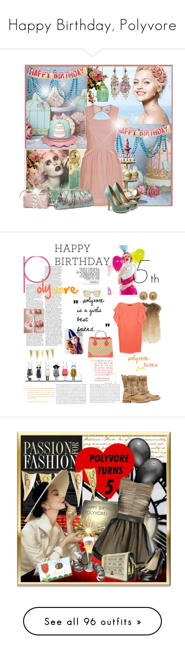 """Happy Birthday, Polyvore"" by jodente ❤ liked on Polyvore featuring Confezioni Crosby, Jessica McClintock, Badgley Mischka, Zara, Matthew Williamson, Chanel, Gucci, Prism, Dolce&Gabbana and Rawlings"