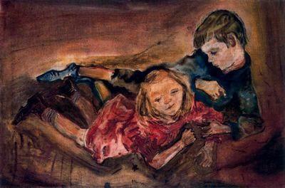 Ciudad de la pintura - La mayor pinacoteca virtual. Oskar Kokoschka., Niños jugando, 1909.