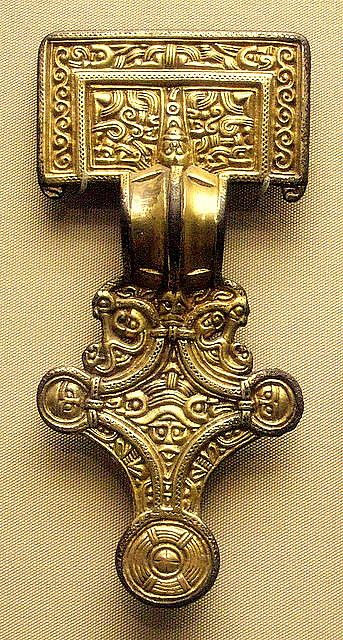 5-6c Anglo-Saxon square-headed brooch, gilded silver.
