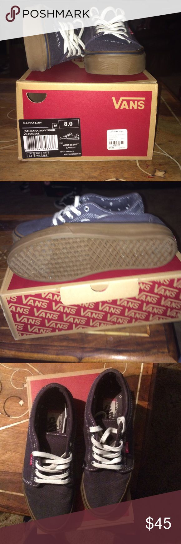 Vans CHUKKA LOW (BANDANA)  NAVY/GUM Worn x2 No scuffs.   Comes with box Vans Shoes Sneakers