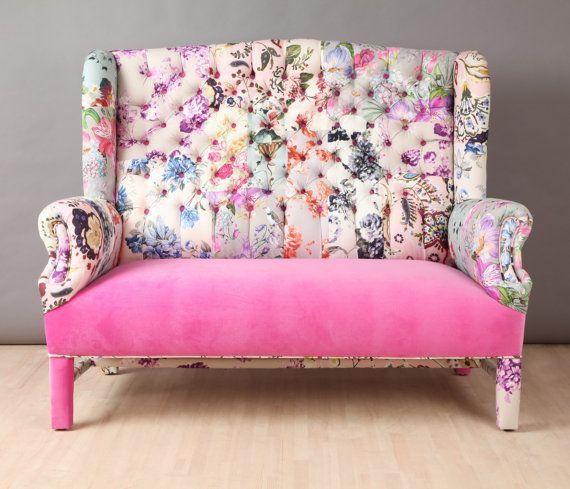 Rose bonbon  canapé patchwork aile par namedesignstudio sur Etsy