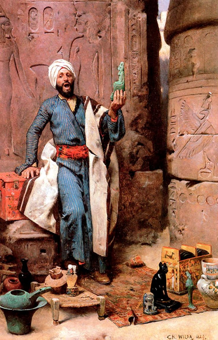 Egypt , Old Cairo Paintings: Charles Wilda (Austrian 1854-1907) - The Antique Seller ,1884