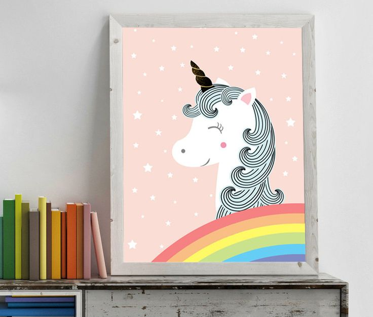 Nursery wall art decor with white unicorns, statrs and rainbow, be a unicorn print poster, girls room, black and white, set three, by GrafPoster on Etsy