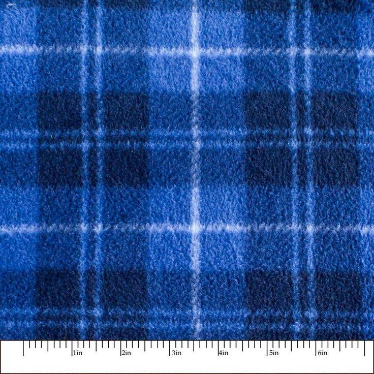 Blue Plaid Print 07 Fleece Fabric by the yard
