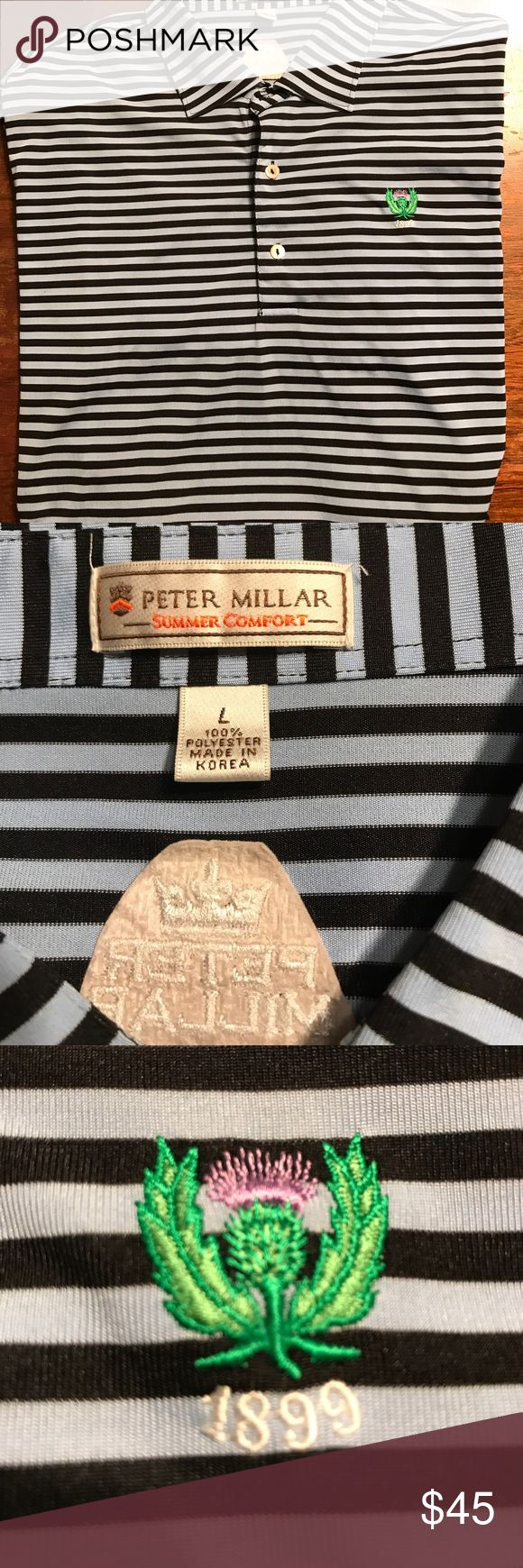 Peter Millar Summer Collection Mens Lrg Polo shirt Gently preowned 100%  Polyester great for a day on the golf course garden city golf club 1899 Logo. Peter Millar Shirts Polos