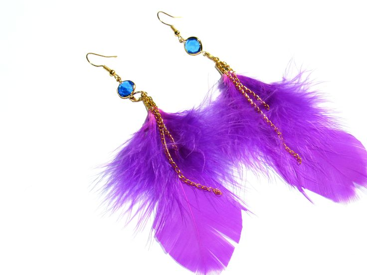 summer wants vivid colors... #handmade #jewerly #feathers #purple #earrings