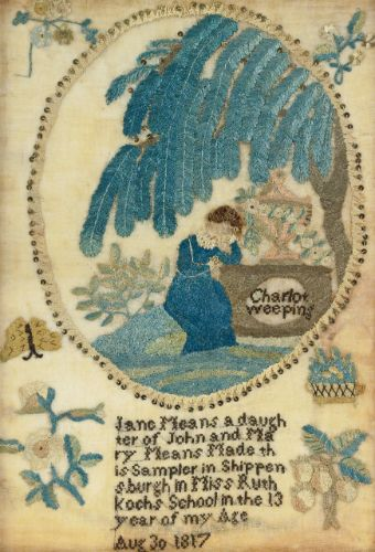 A RARE SILK EMBROIDERED MOURNING PICTURE: CHARLOTTE WEEPING AT THE TOMB OF WERTER, JANE MEANS, MISS RUTH KOCH'S SCHOOL, SHIPPENBURGH, PENNSYLVANIA, DATED 1817