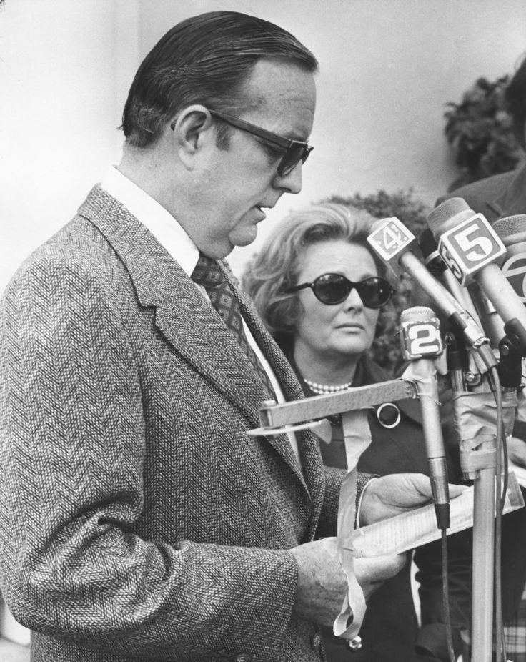 February 7, 1974 - Randolph A. Hearst, accompanied by his wife Catherine, reads the first communication from the Symbionese Liberation Army after the abduction of their daughter Patricia.