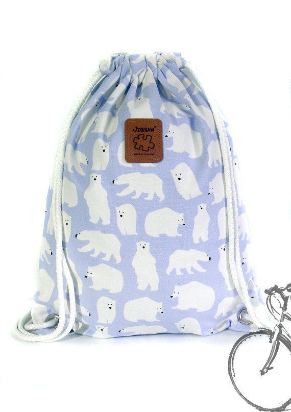 20% off [orig. 14.99] Bear drawstring bag Canvas Cotton  Backpack Hip bag Laptop bag Handmade bag