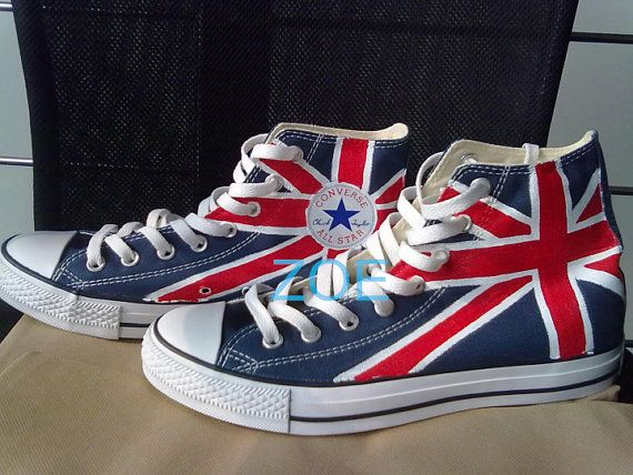 UK Flag Union Jack Converse Sneakers Hand Painted Shoes Custom Converse Shoes,UK Flag Converse on Etsy, $85.00