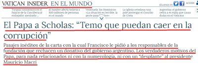 el blog de josé rubén sentís: la verdadera molestia del papa francisco con macri...