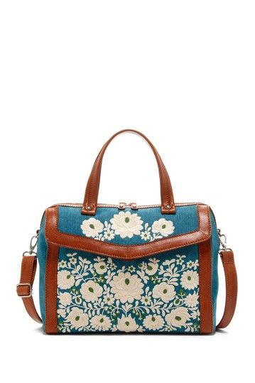 Blue and White Embroidered Satchel