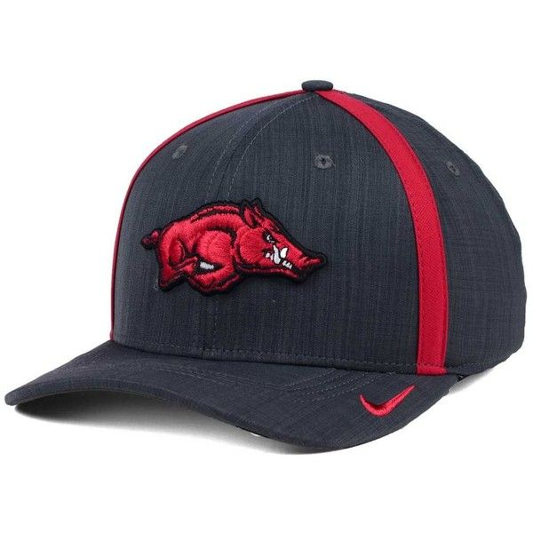 Nike Arkansas Razorbacks Aerobill Sideline Coaches Cap ($32) ❤ liked on Polyvore featuring accessories, hats, anthracite, nike cap, cap hats, crown hat, arkansas razorbacks hat and crown cap