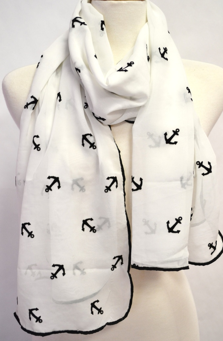 WHITE & BLACK Anchors Silky Chiffon Novelty Nautical Sailor Velvet Fashion Scarf Wrap Shawl Summer Boating Women's Scarf. $30.00, via Etsy.
