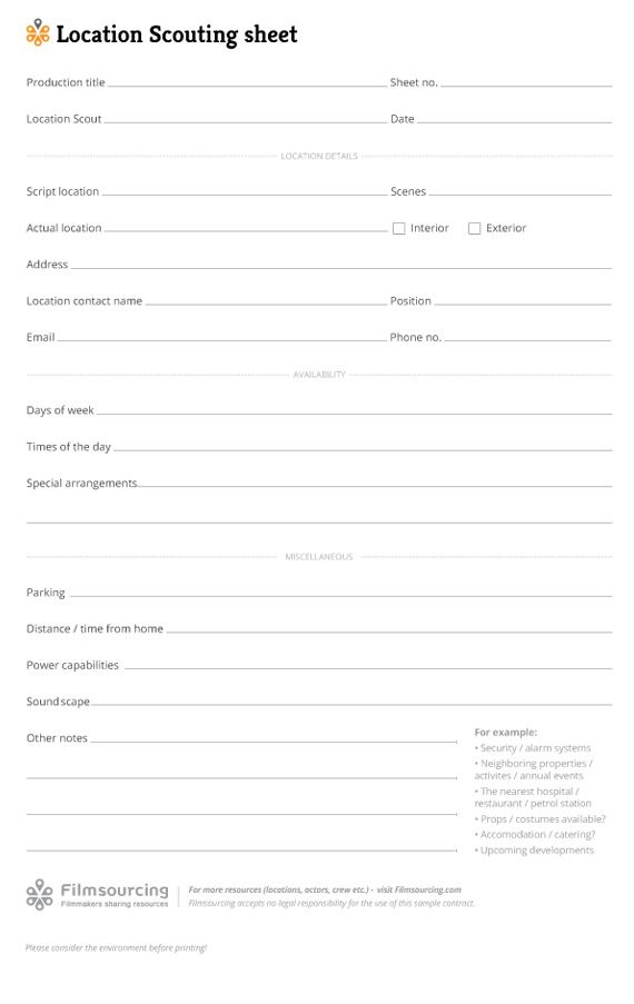 Location Scouting Sheet - Download FREE Filmmaking Production - medical student cv