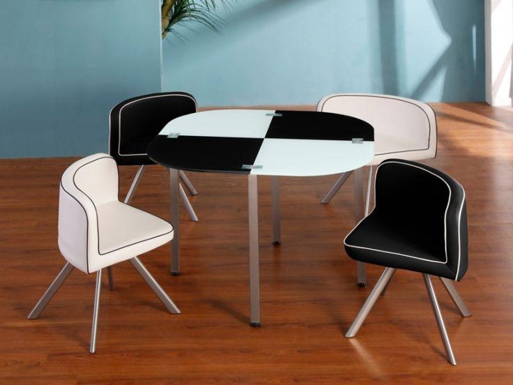 Ensemble table + 4 chaises UNITY - Noir et blanc