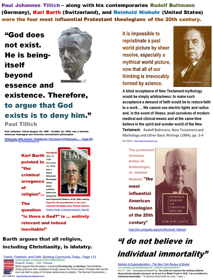 Paul Tillich was – along with his contemporaries Rudolf Bultmann (Germany), Karl Barth (Switzerland), and Reinhold Niebuhr (United States) - one of the four most influential Protestant theologians of the 20th century  .GIF