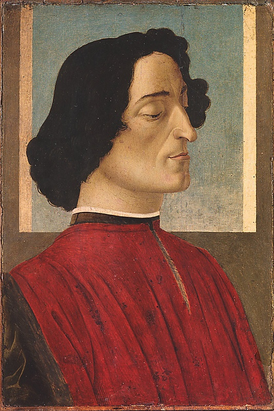 Giuliano de' Medici. This painting is a version of the imposing posthumous portrait of Giuliano de' Medici (cat. no. 52), and yet another variant is known. They must have been in demand among supporters of the Medici government. In this example, the iconographic features of the portrait in Washington have been eliminated.